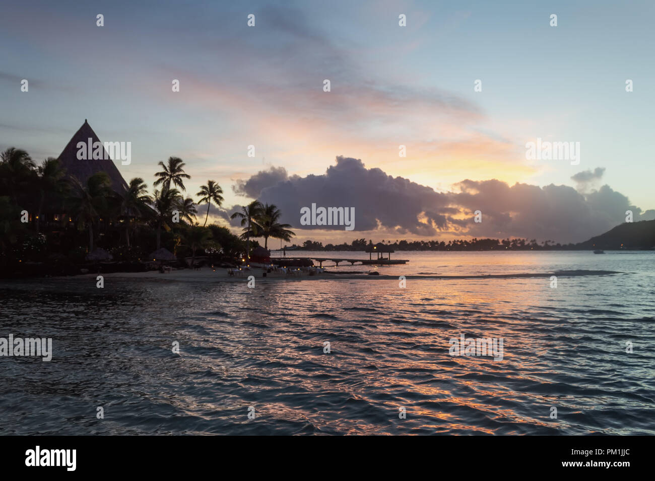 Beautiful sunset of Bora Bora Island, French Polynesia - Stock Image