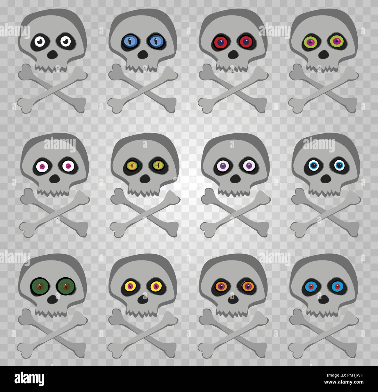 Vector set of cartoon skeleton sculls with multi colored random eyes isolated on transparent background. Halloween collection of icons, clip art, digi - Stock Vector