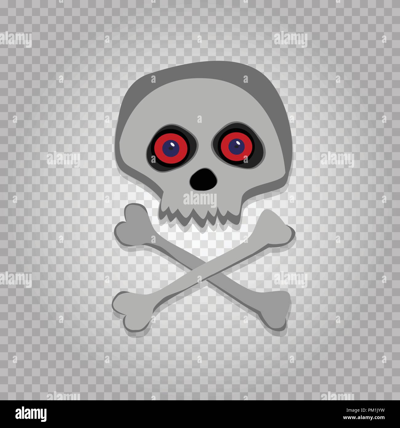 Vector Cartoon Skeleton Scull With Red Eyes Isolated On Transparent