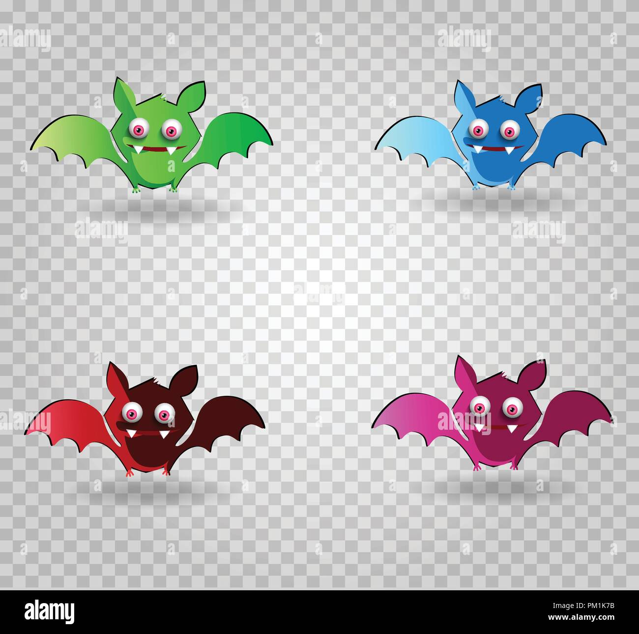 Vector set of cute funny multi colored smiling bats. Green, blue, purple, red bat characters on transparent background. Halloween digital design eleme - Stock Vector