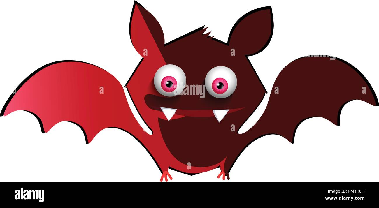 vector illustration of cute funny red smiling bat cartoon character rh alamy com Halloween Witch Clip Art Happy Halloween Clip Art