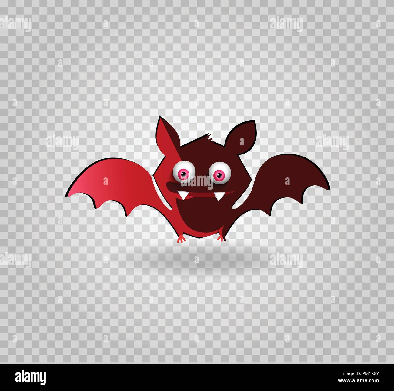 vector illustration of cute funny red smiling bat cartoon character rh alamy com Cute Halloween Clip Art Cute Halloween Clip Art