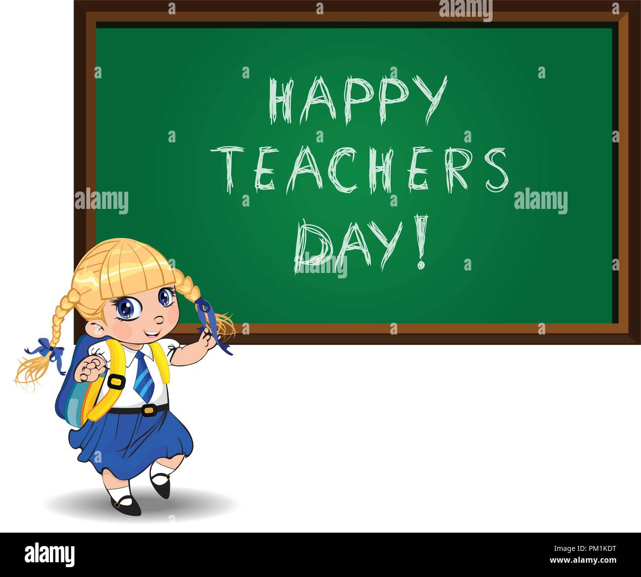 Happy teachers day greeting card clip art with cute cartoon school girl  wearing uniform and backpack near chalckboard on white. Vector illustration  of 36d6e05ab9310