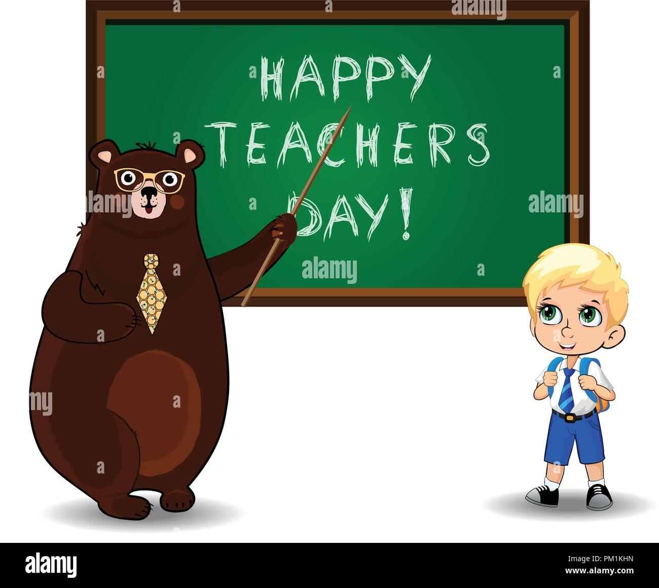 Happy teachers day stock photos happy teachers day stock images happy teachers day greeting card clip art with cute cartoon bear teacher wearing glasses and tie m4hsunfo