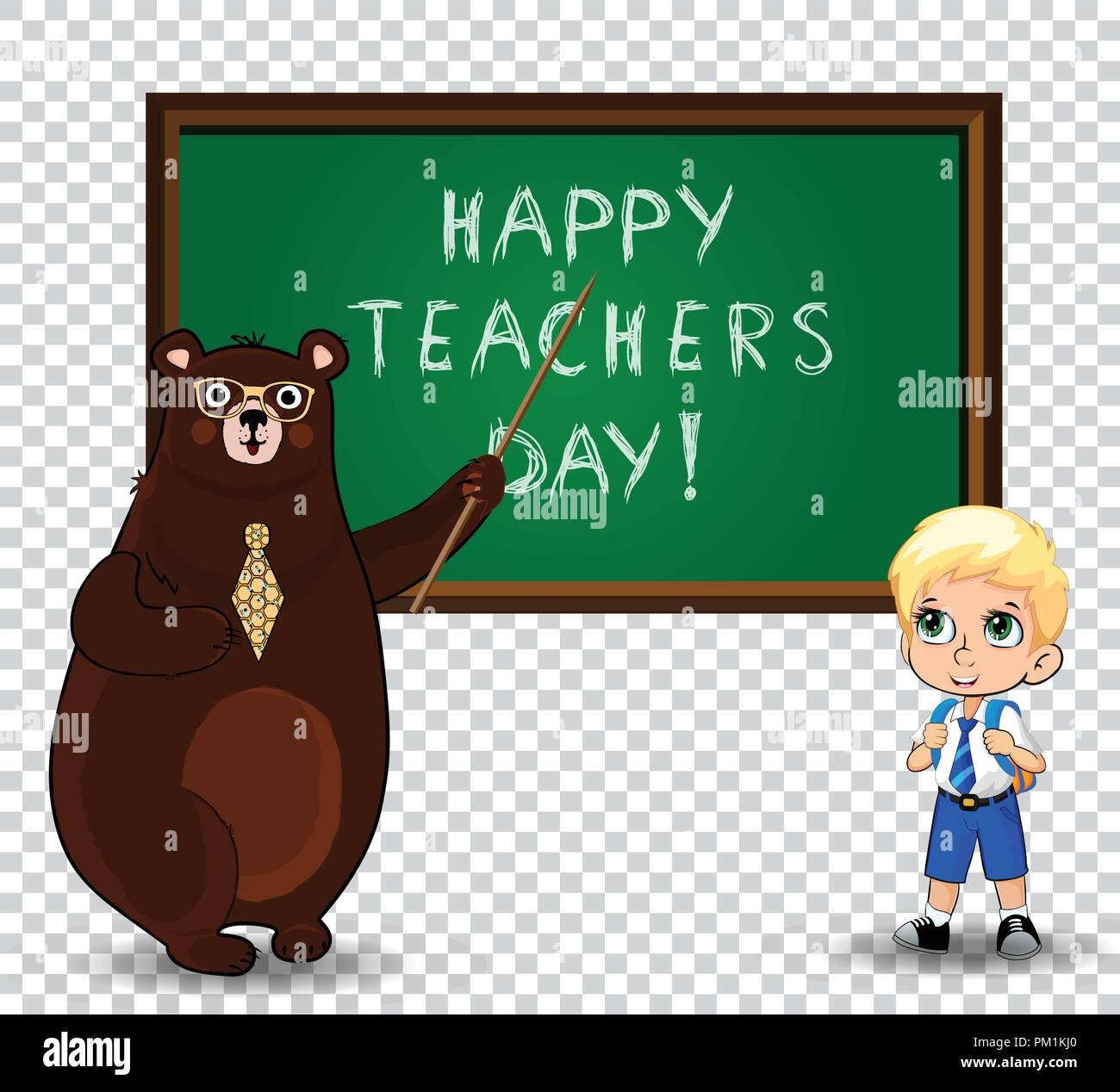 Happy Teachers Day Greeting Card Clip Art With Cartoon Bear Teacher