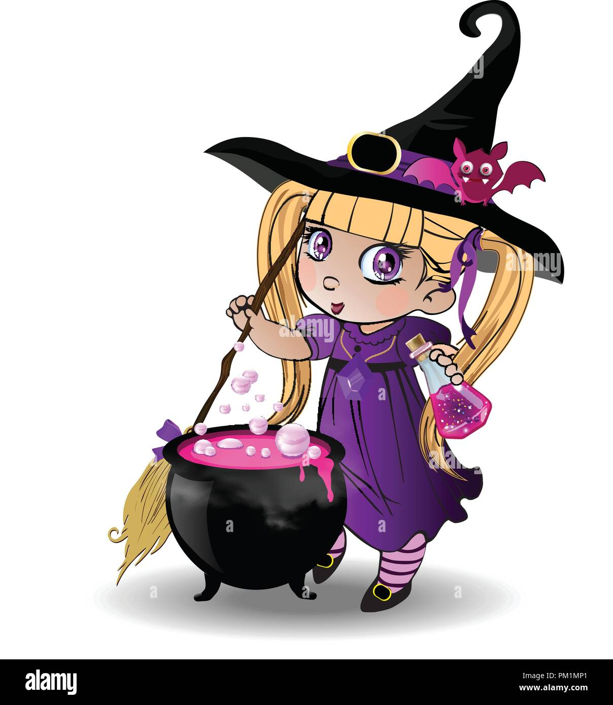Vector cartoon illustration of little blonde baby witch girl in purple dress and cute bat on her hat stir boiling potion with broomstick in cauldron o - Stock Image