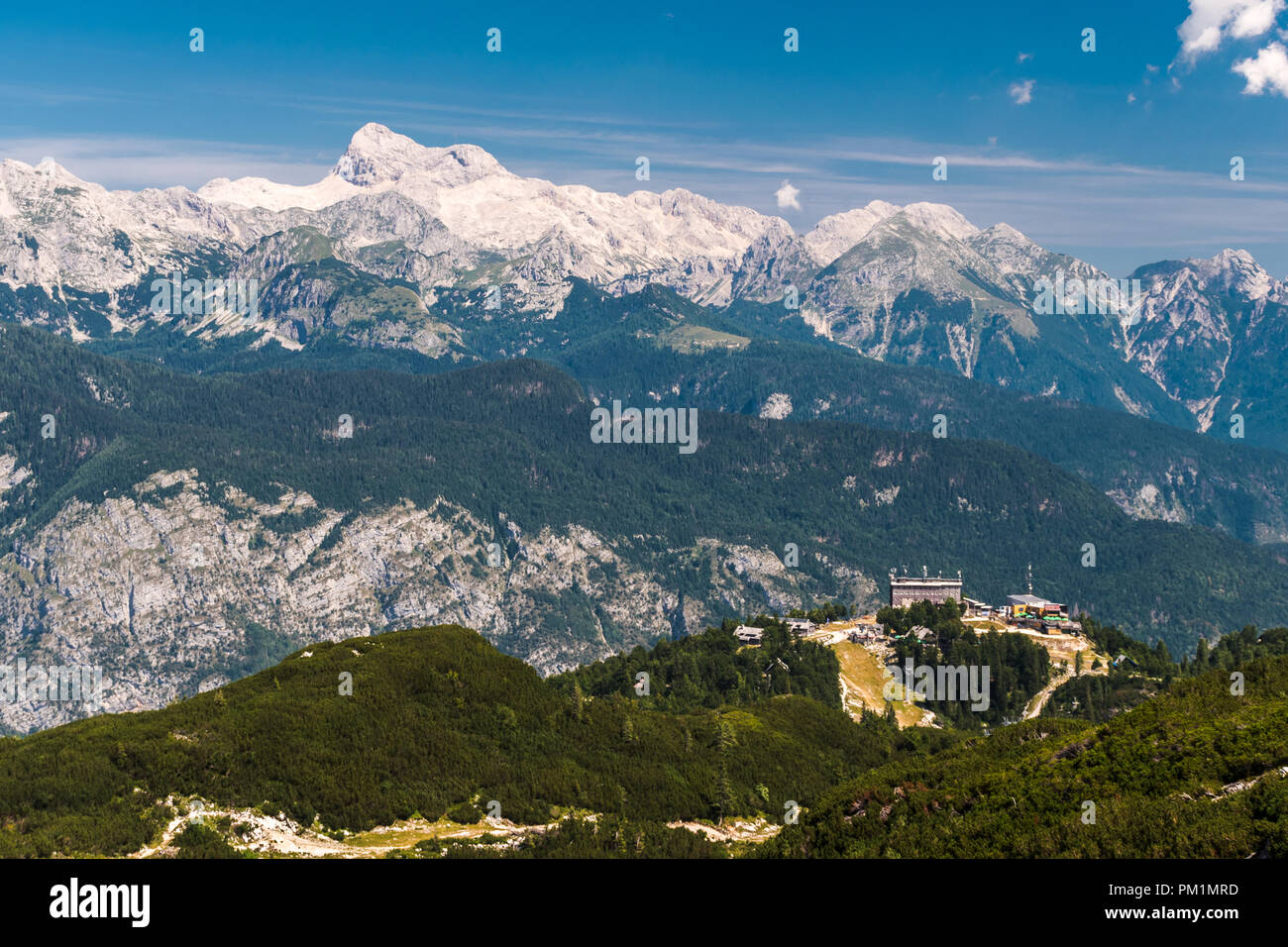The mount Triglav, the highest peak in Slovenia, as seen from the Vogel touristic area - Stock Image