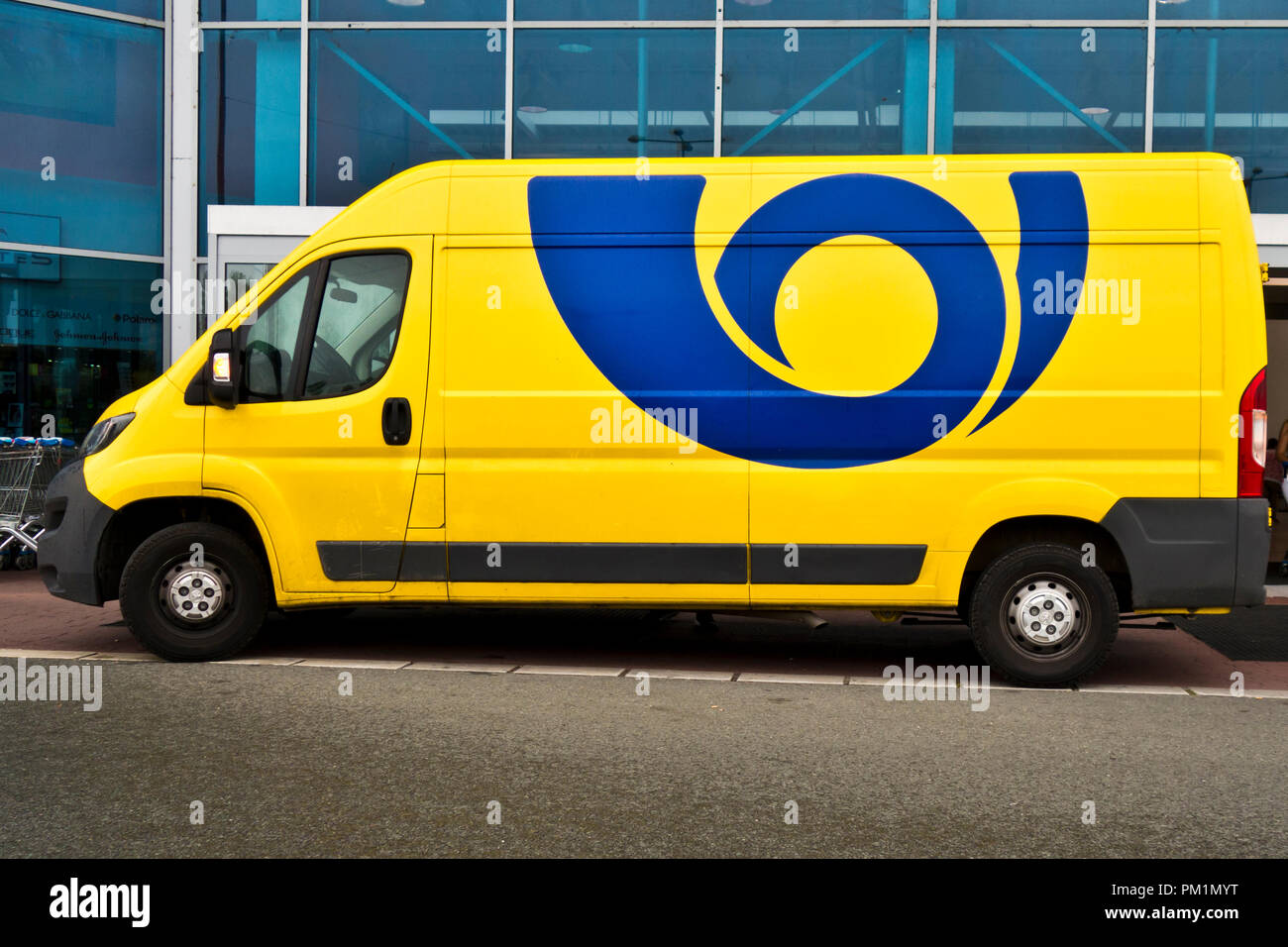Yellow truck  of Ceska Posta for mail delivery - Stock Image