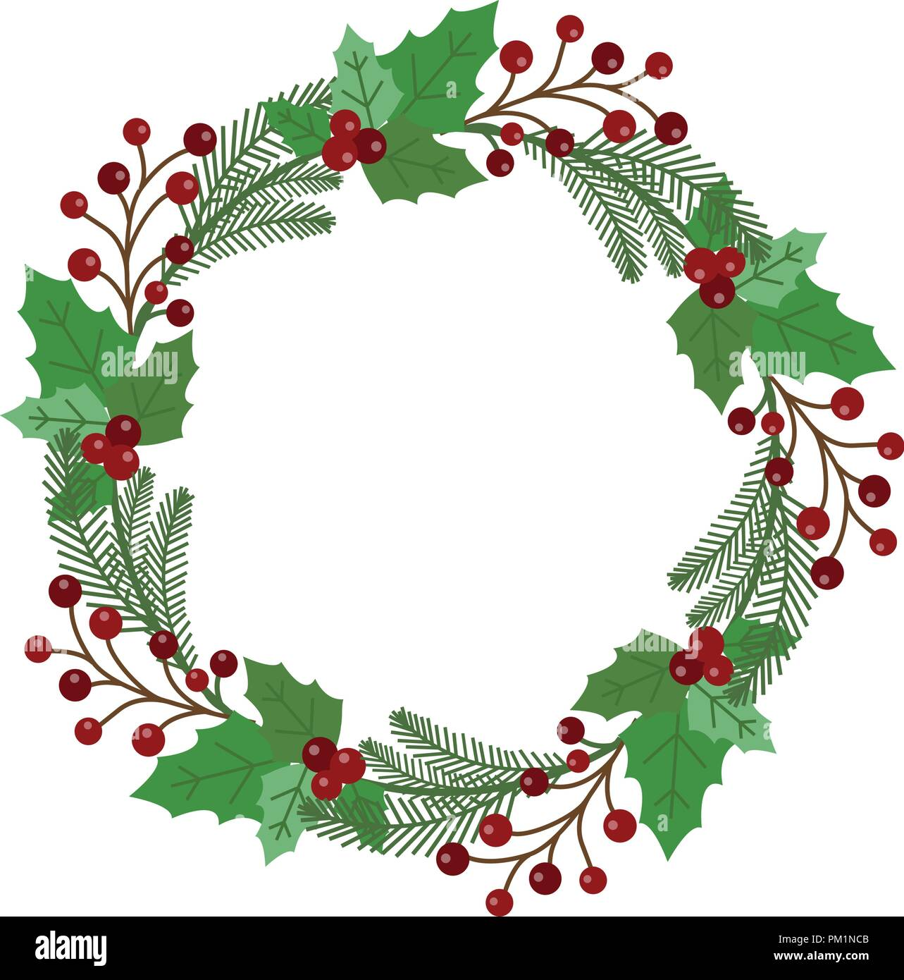 Christmas Holiday Wreath Icon Stock Vector Image Art Alamy
