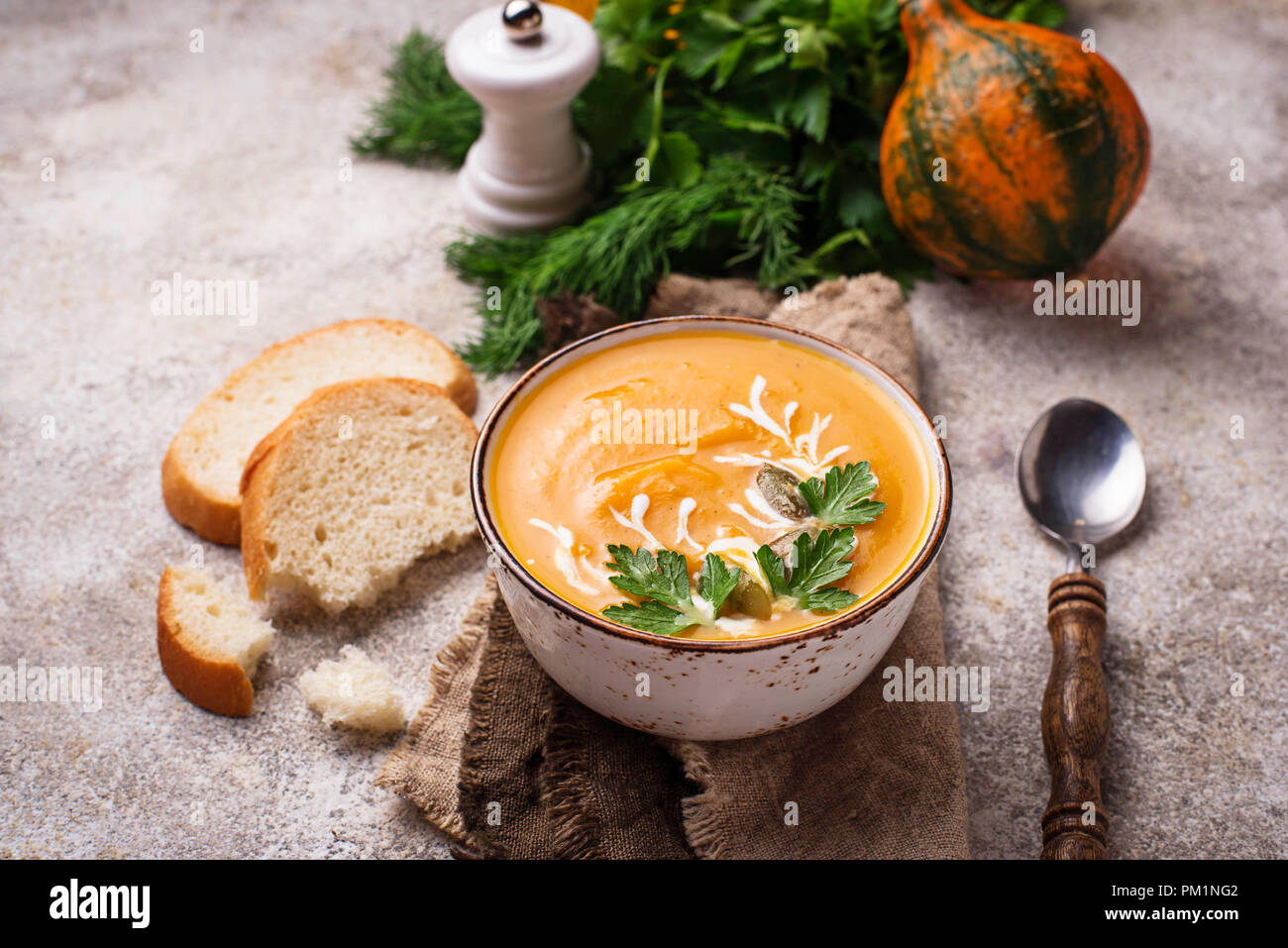 Vegetarian autumn  pumpkin cream soup  - Stock Image