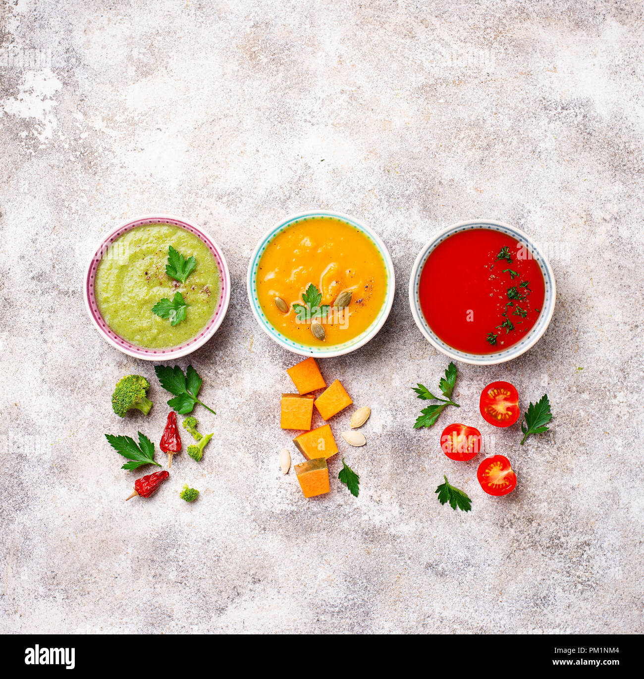 Set of different vegetable cream soups - Stock Image