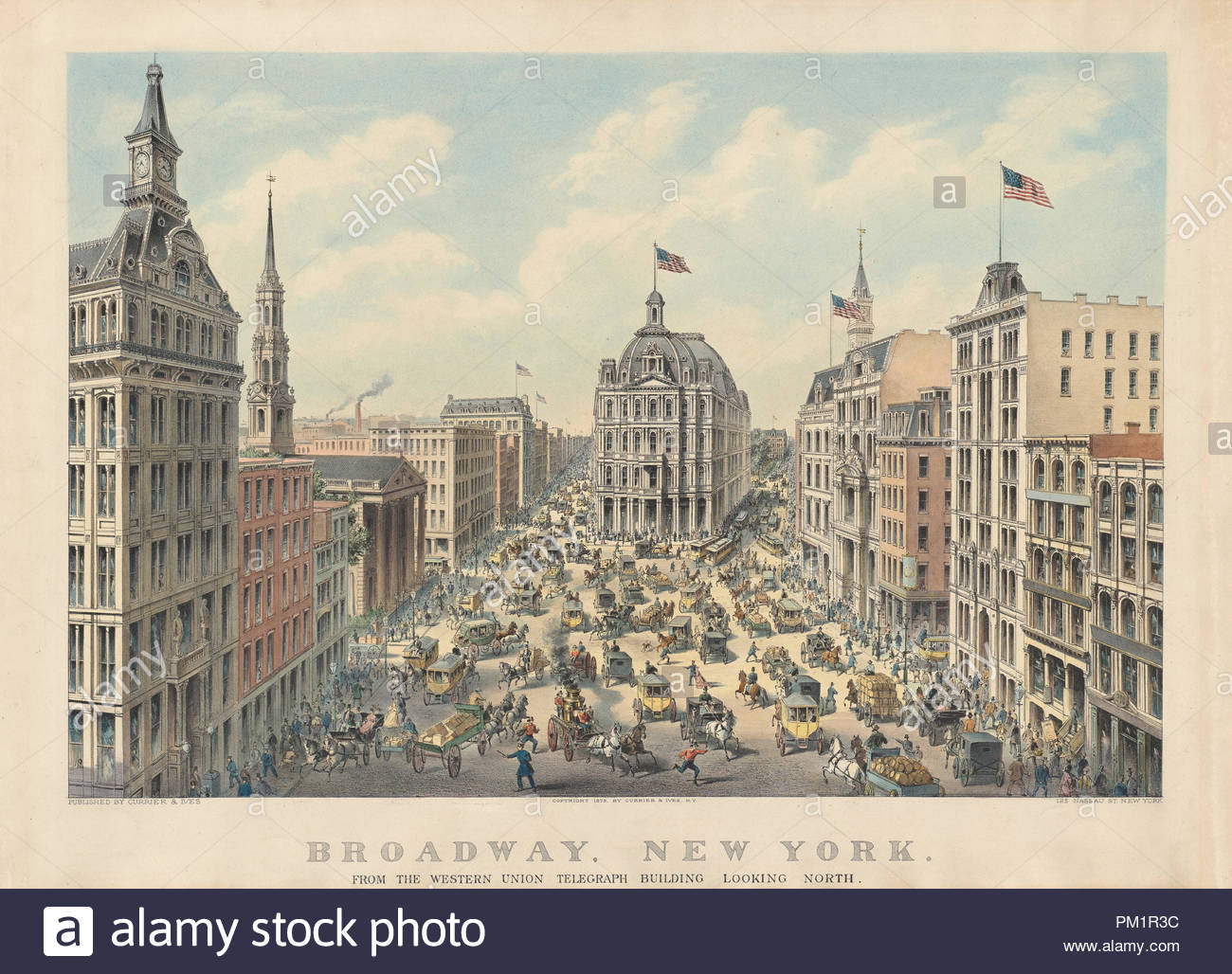 Broadway, New York: From the Western Union Telegraph Building Looking North. Dated: 1875. Dimensions: image: 41.3 x 60.6 cm (16 1/4 x 23 7/8 in.)  sheet: 50.4 x 71.3 cm (19 13/16 x 28 1/16 in.). Medium: hand-colored lithograph on wove paper. Museum: National Gallery of Art, Washington DC. Author: Currier and Ives. - Stock Image