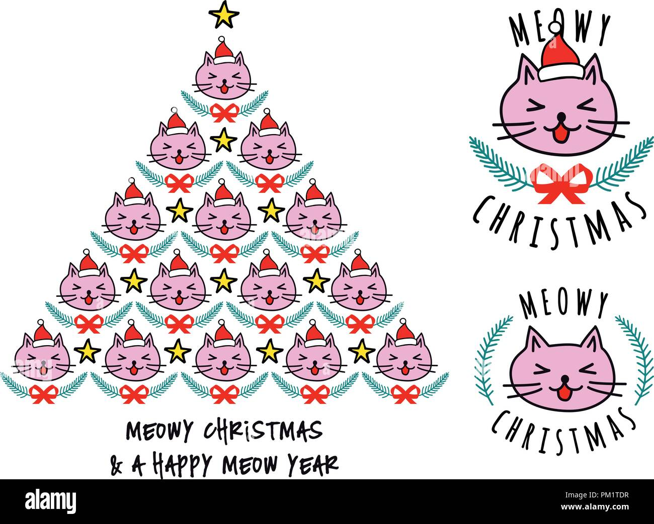 Christmas tree with cat faces, cute kawaii vector illustration for Christmas cards - Stock Image