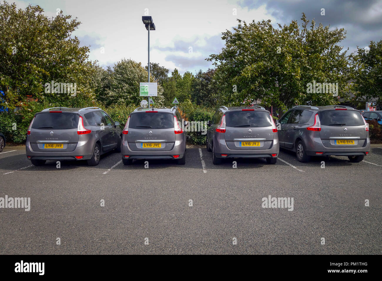 4 Matching Renault Scenic Cars Parked together at Durham A1 Motorway Services - Stock Image