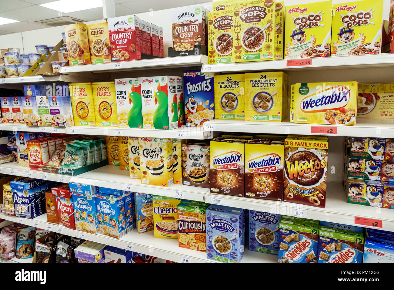 London England Great Britain United Kingdom South Bank Sainsbury's grocery supermarket convenience store inside shelf display sale breakfast cereal st - Stock Image
