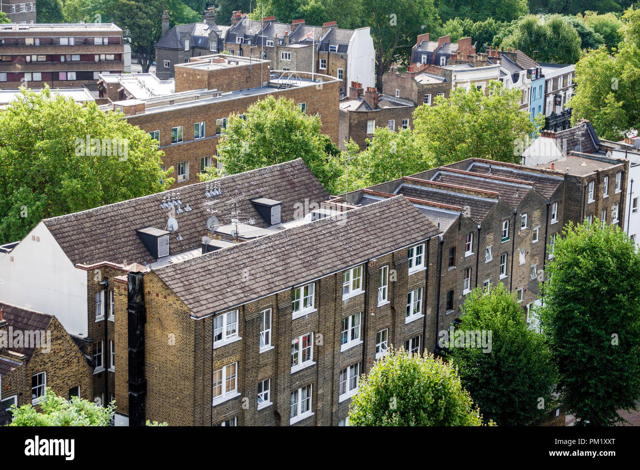 London England Great Britain United Kingdom South Bank buildings flats rooftops trees overhead view - Stock Image
