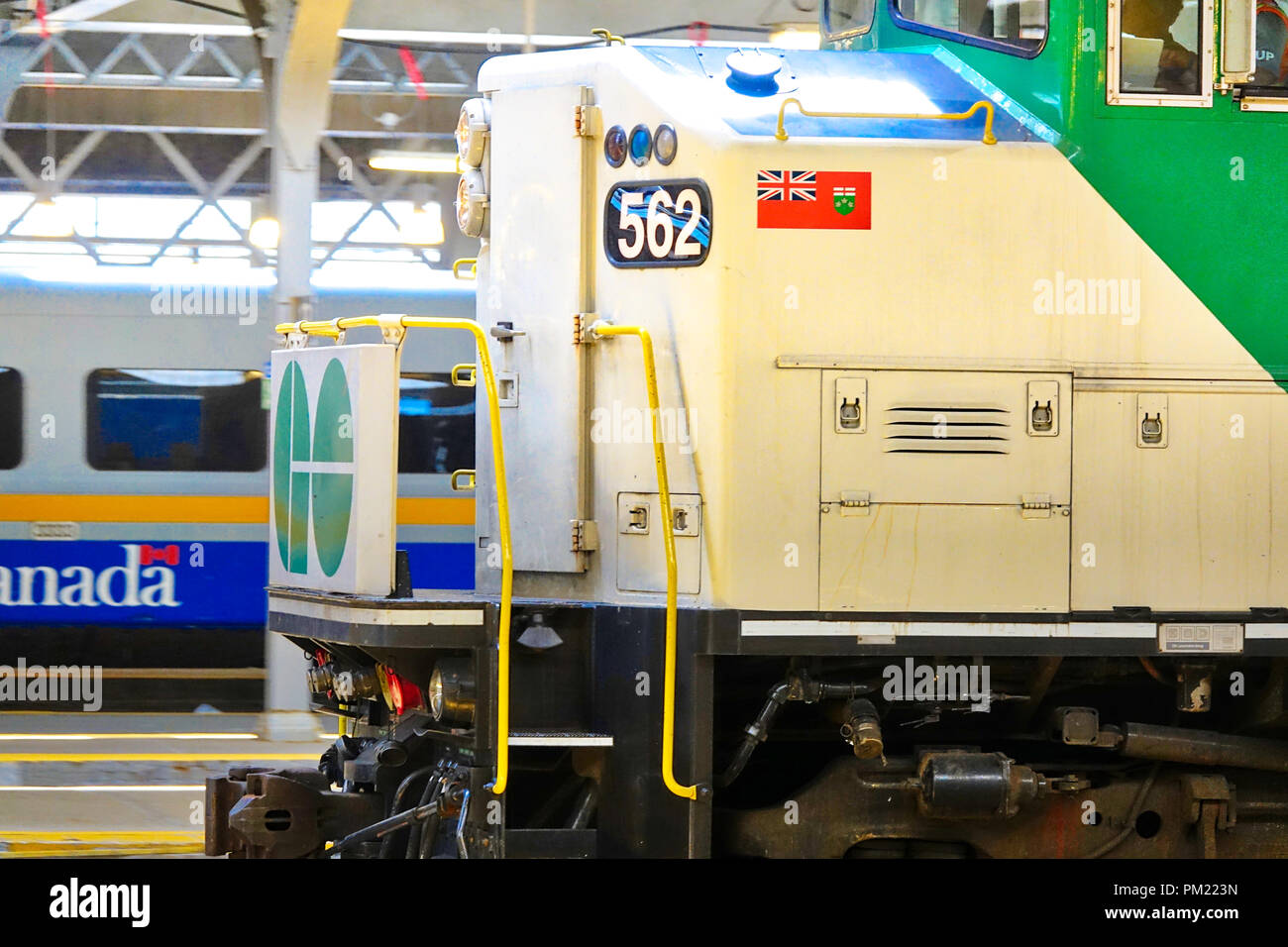 Toronto, Ontario, Canada-26 June, 2018: Toronto Go Train arriving at Union station - Stock Image