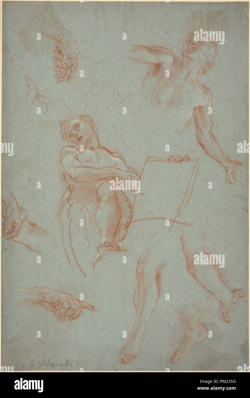 Sheet of Studies with Figures, Hands, and Feet. Dimensions: sheet: 41.3 x  27.7 cm (16 1/4 x 10 7/8 in.) mount: 53 x 40.2 cm (20 7/8 x 15 13/16 in.).