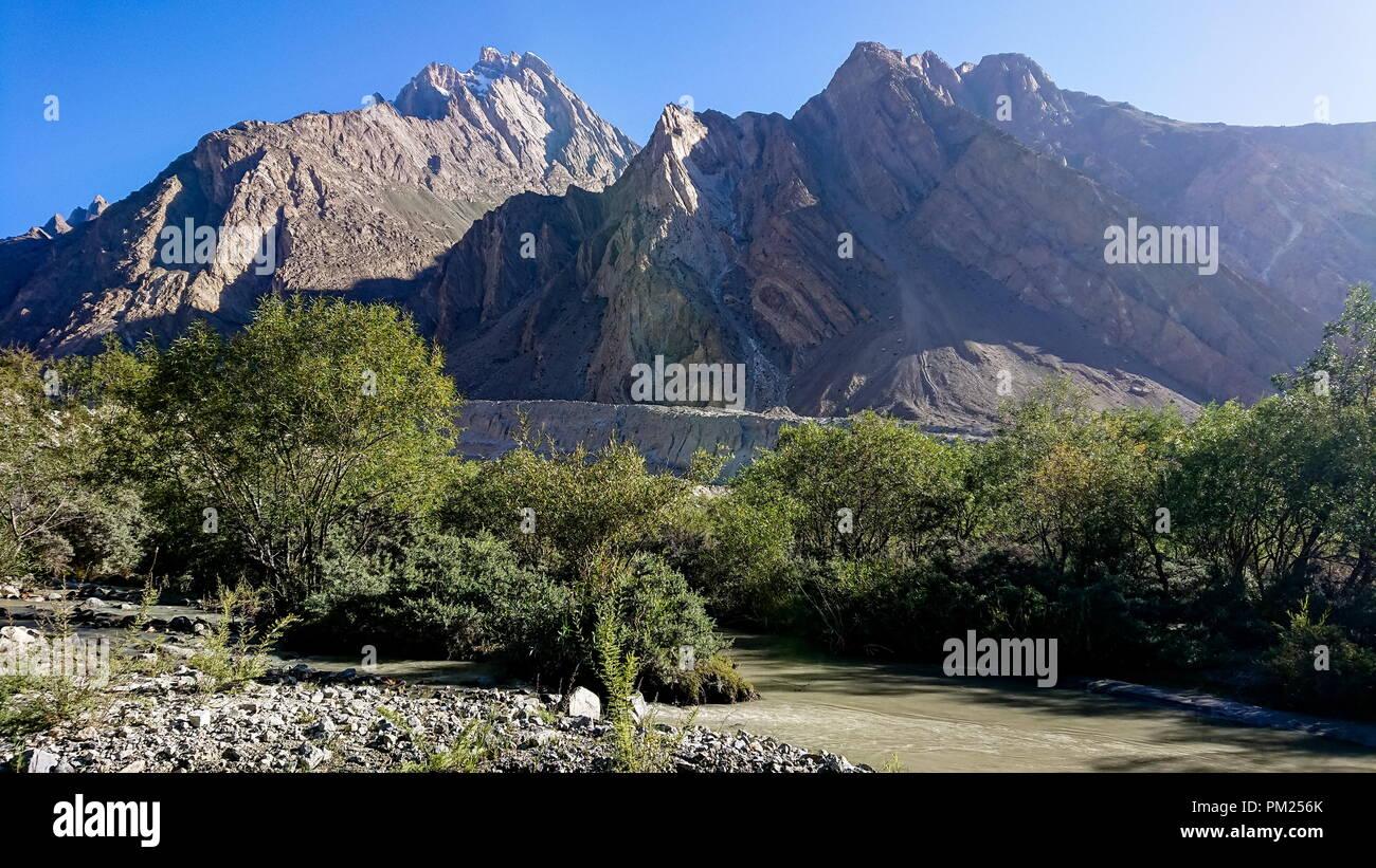 Landscape of Skardu village in summer, Gilgit Baltistan, Pakistan, Asia Stock Photo