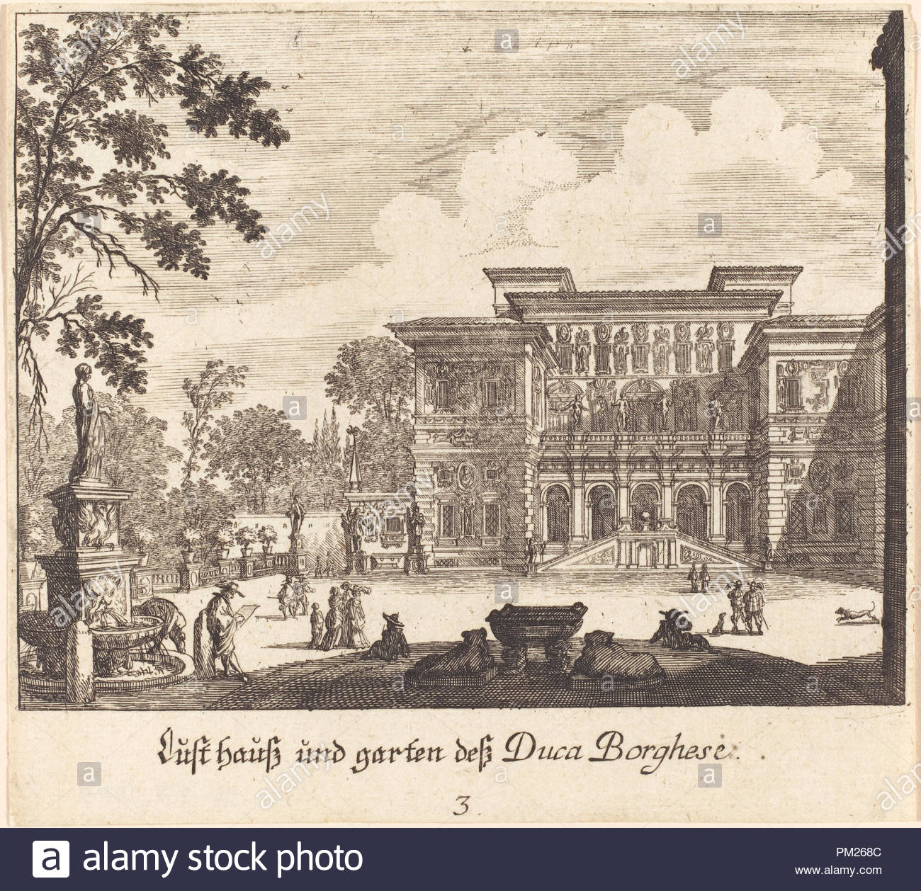 Borghese Palace And Gardens Dated 1681 Medium Etching Museum
