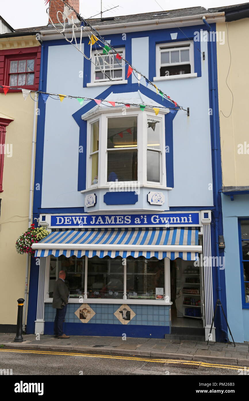 Dewi James & Co butchers, High Street, Cardigan, Cardigan Bay, Ceredigion, Wales, Great Britain, United Kingdom, UK, Europe - Stock Image