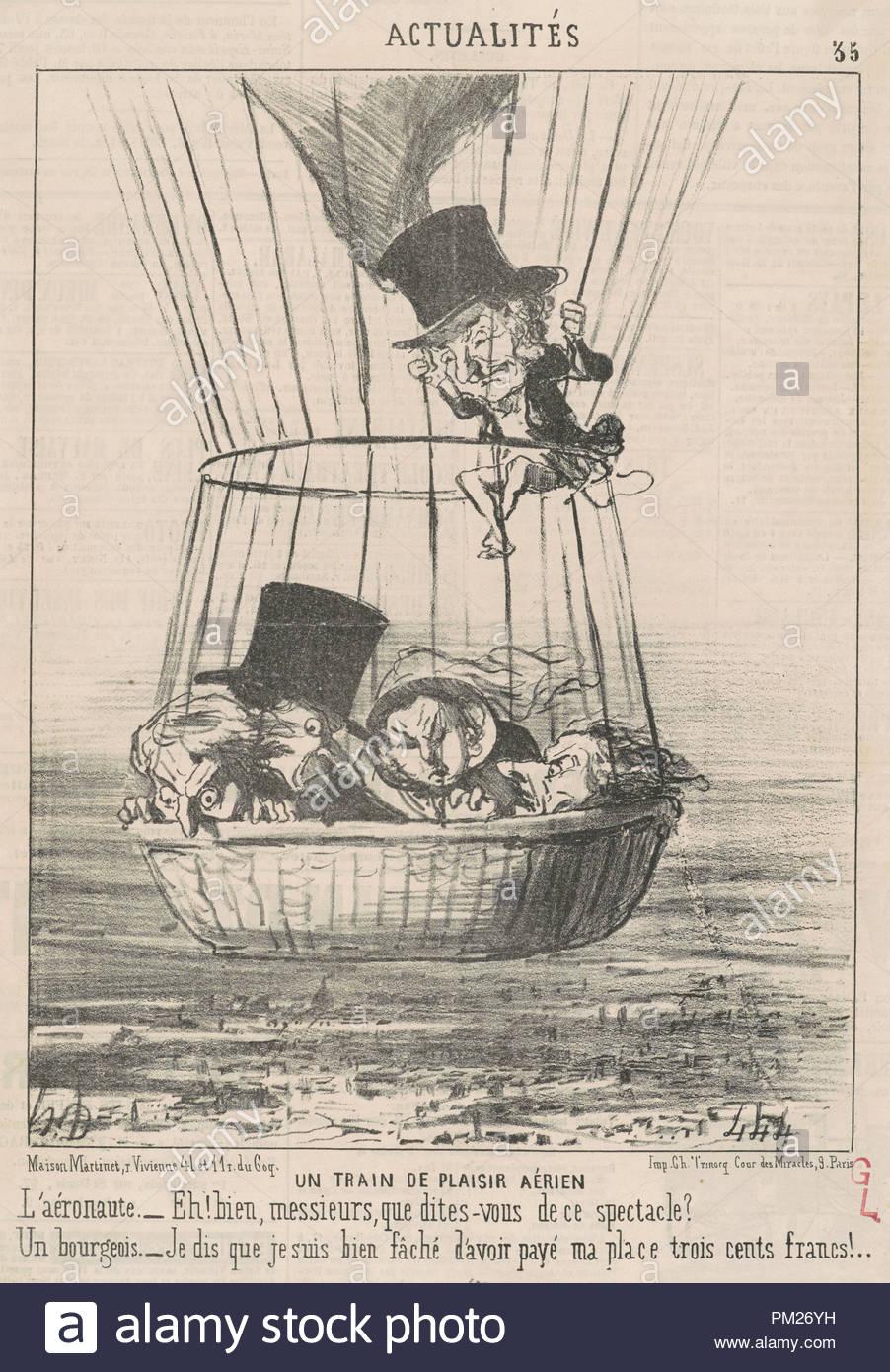 Un train de plaisir aérien. Dated: 19th century. Medium: lithograph. Museum: National Gallery of Art, Washington DC. Author: HONORÉ DAUMIER. - Stock Image