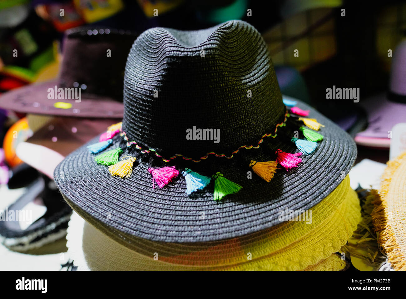 982073cc44d130 Beautiful hats for ladies for sale at market Stock Photo: 218867023 ...