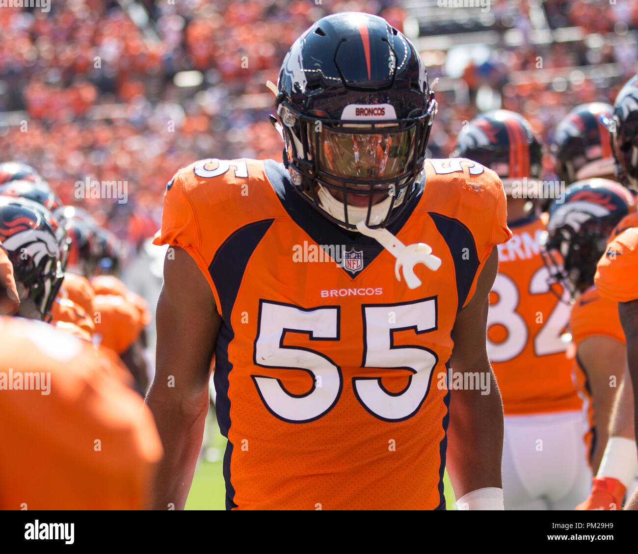 Denver, USA. September 16, 2018: Denver Broncos Linebacker