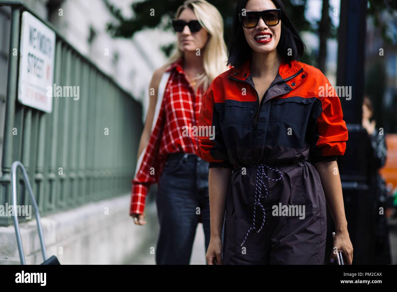 Fashion Buying Director Tiffany Hsu arriving at the Delpozo runway show during London Fashion Week - Sept 16, 2018 - Photo: Runway Manhattan ***For Editorial Use Only***   usage worldwide - Stock Image