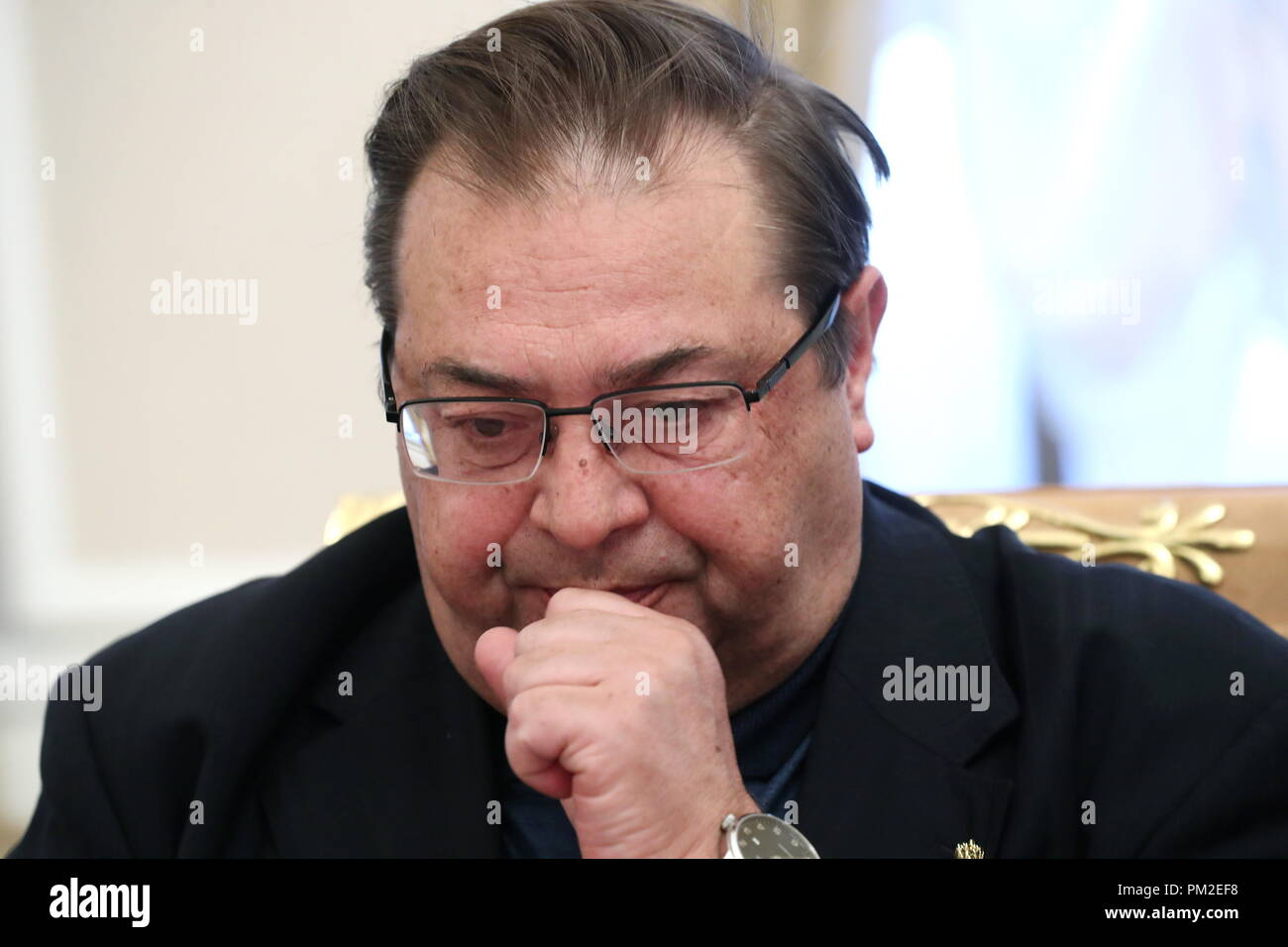 Moscow, Russia. 17th Sep, 2018. MOSCOW, RUSSIA - SEPTEMBER 17, 2018: Yuri Petrov, a member of the Presidium of the Russian Historical Society, director of the Russian History Institute at the Russian Academy of Sciences (RAS), during a meeting of the Editorial Board of the Presidential Historical Library project at the offices of the Russian Historical Society. Stanislav Krasilnikov/TASS Credit: ITAR-TASS News Agency/Alamy Live News - Stock Image