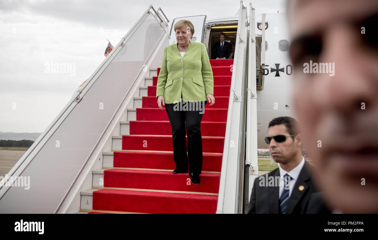 Algier, Algeria. 17th Sep, 2018. German Chancellor Angela Merkel (CDU) steps out of the German government's Airbus at the airport. Credit: Michael Kappeler/dpa/Alamy Live News - Stock Image