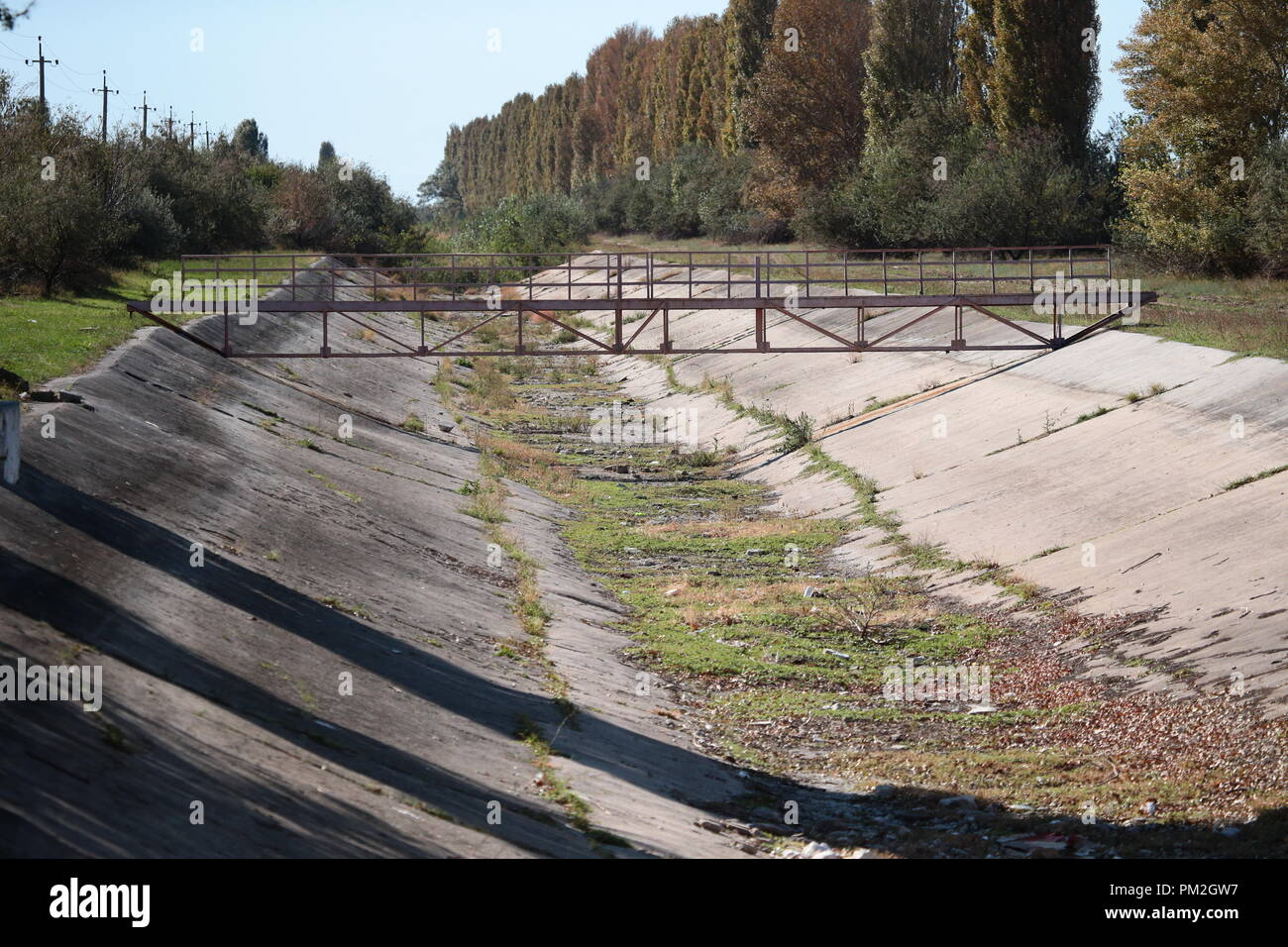 ARMYANSK, CRIMEA, RUSSIA – SEPTEMBER 17, 2018: North Crimean Canal near the town of Armyansk, north Crimea, where high concentrations of sulphur dioxide have been confirmed following a sudden release of vapours of a toxic agent at the Krymsky Titan plant on the night between 23 and 24 August 2018; operations at Krymsky Titan, manufacturer of titanium dioxide pigment owned by Titanovye Investitsii, have been halted. Sergei Malgavko/TASS - Stock Image