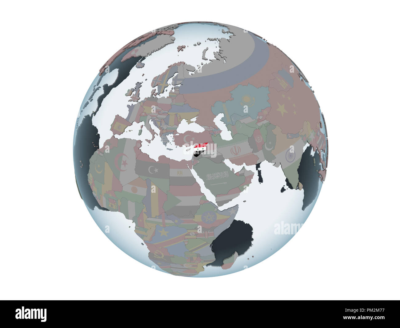 Syria on political globe with embedded flag. 3D illustration isolated on white background. - Stock Image