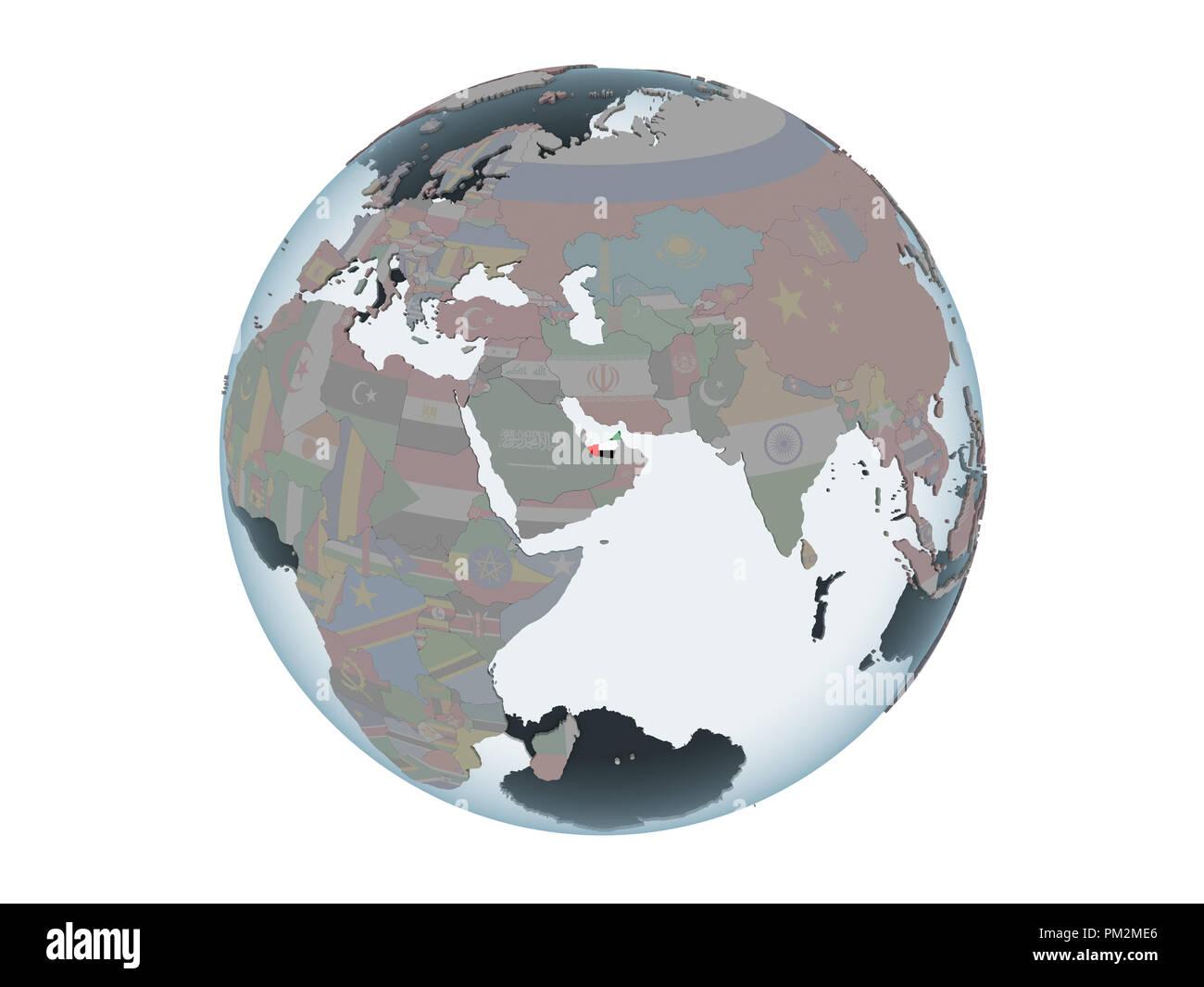 United Arab Emirates on political globe with embedded flag. 3D illustration isolated on white background. - Stock Image