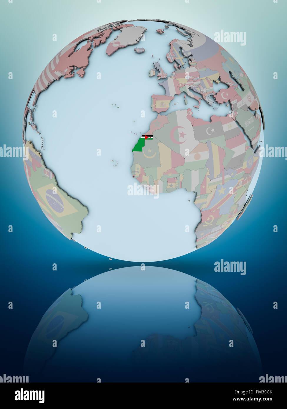 Western Sahara with national flag on globe reflecting on shiny surface. 3D illustration. - Stock Image