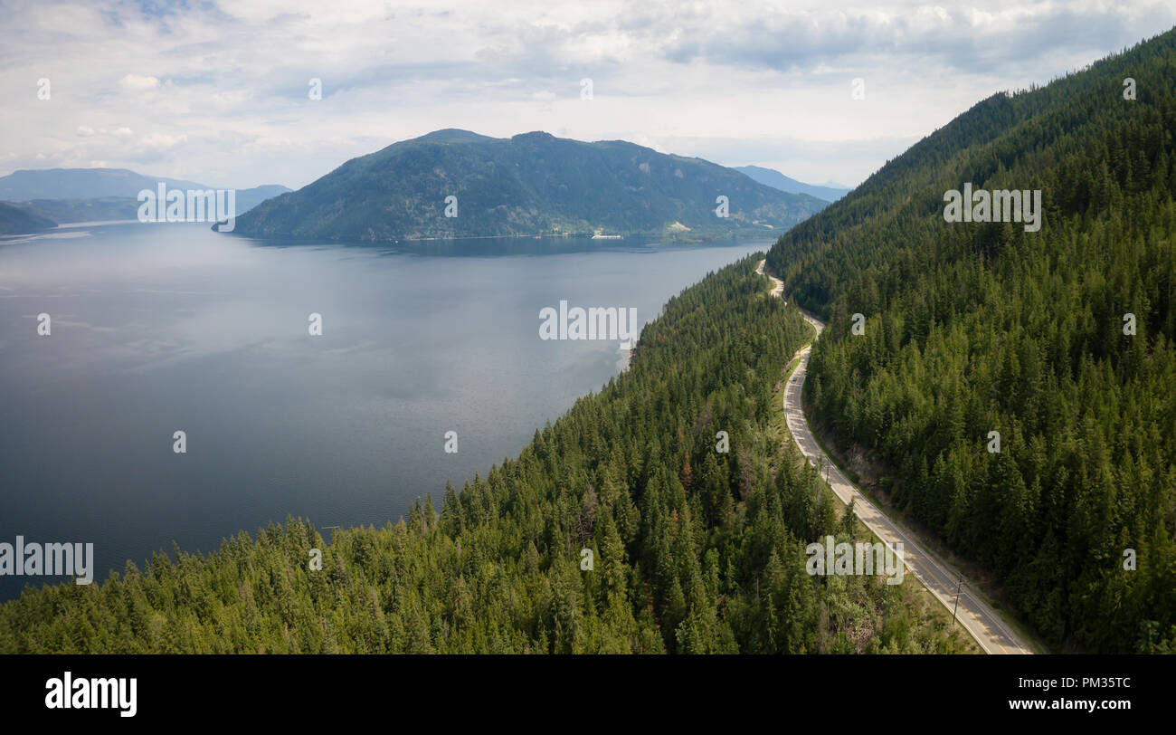 Aerial View Of Trans Canada Highway During A Vibrant Sunny Summer Day Taken Near Shuswap Lake Sicamous Bc Canada Stock Photo Alamy