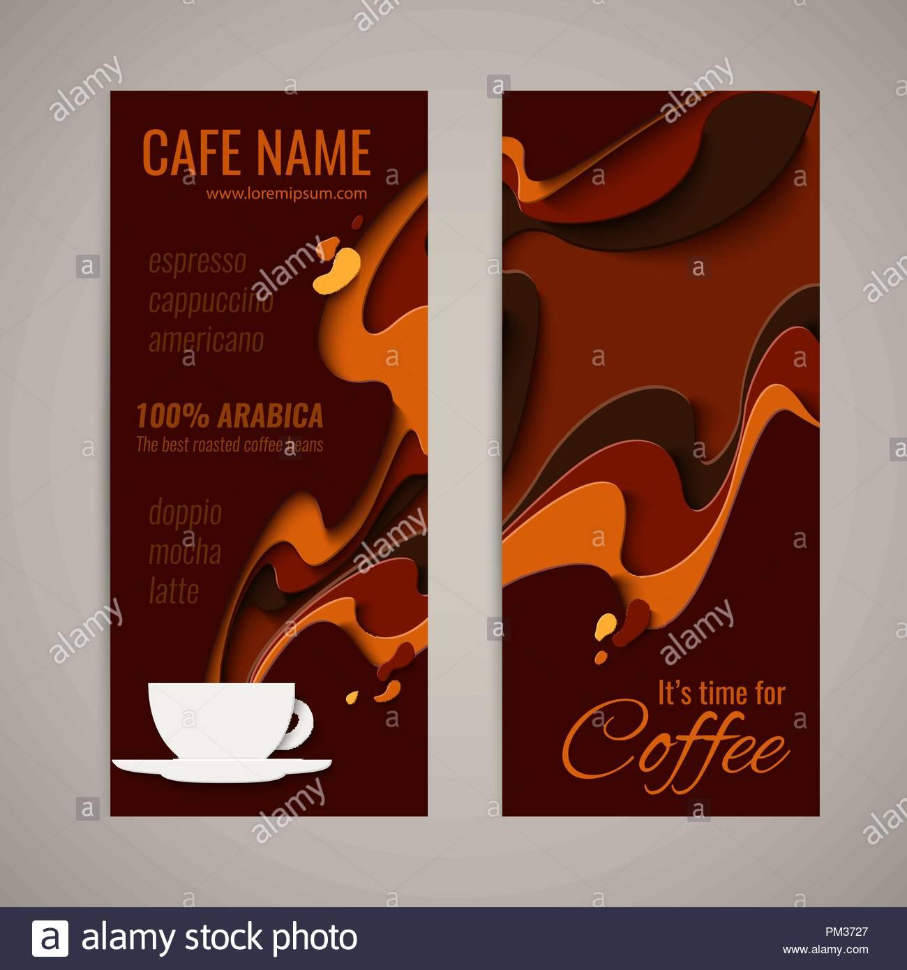 Coffee Menu Design Paper Cut Style Poster For Coffee Shop Cafe Or
