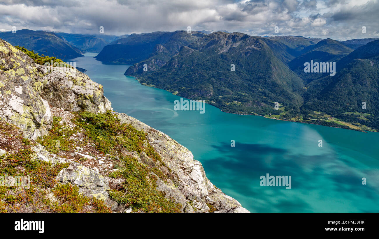 Impressive Sognefjord top view with bright water - Stock Image
