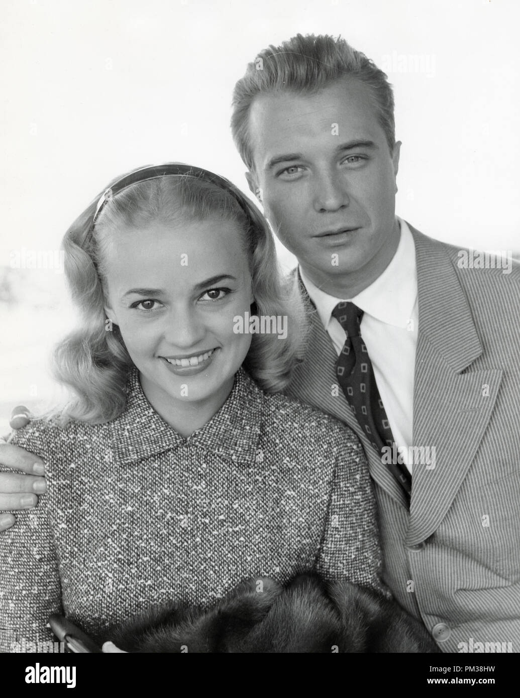 Jeanne Moreau and Philippe Lemaire, 1956.  File Reference # 1210_006THA © JRC /The Hollywood Archive - All Rights Reserved - Stock Image