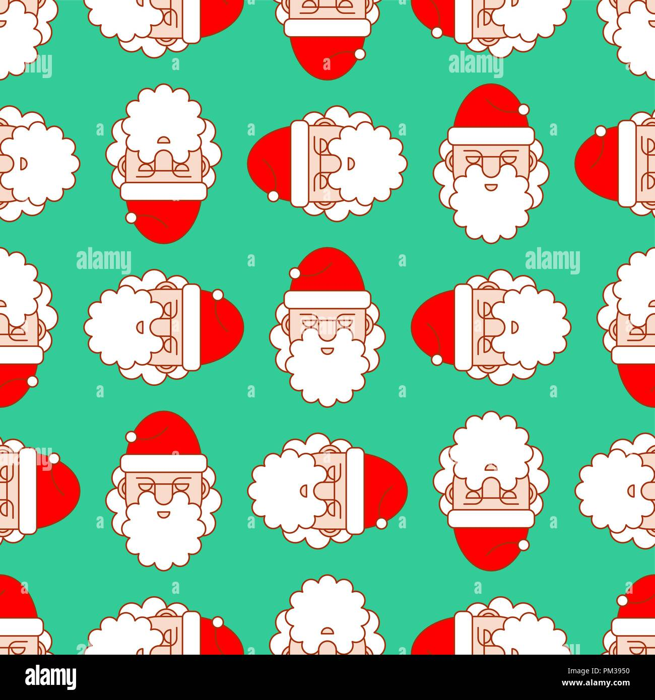 christmas pattern seamless santa ornament new year vector background
