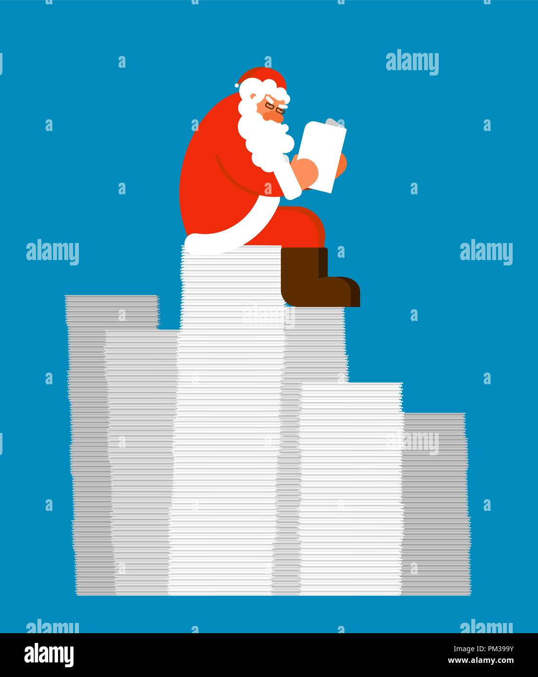 Santa reading mail on Pile of letters. Claus and message. Xmas ...