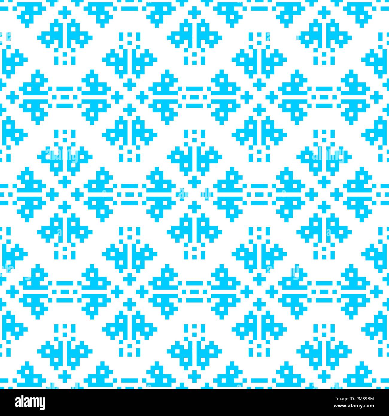 pixel embroidery blue christmas pattern seamless new year vector background