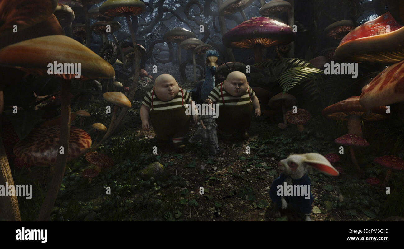 Alice In Wonderland Film Frame L R Matt Lucas Mia Wasikowska