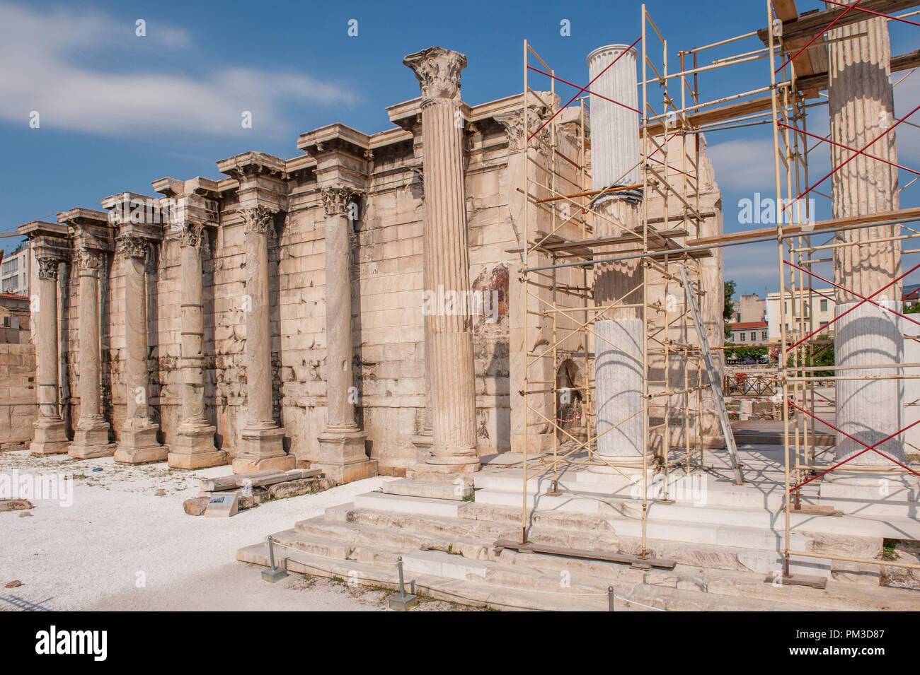 Library of Hadrian located in the north corner of the ancient Agora of Athens. Roman emperor Hadrian built the library in AD 132. - Stock Image