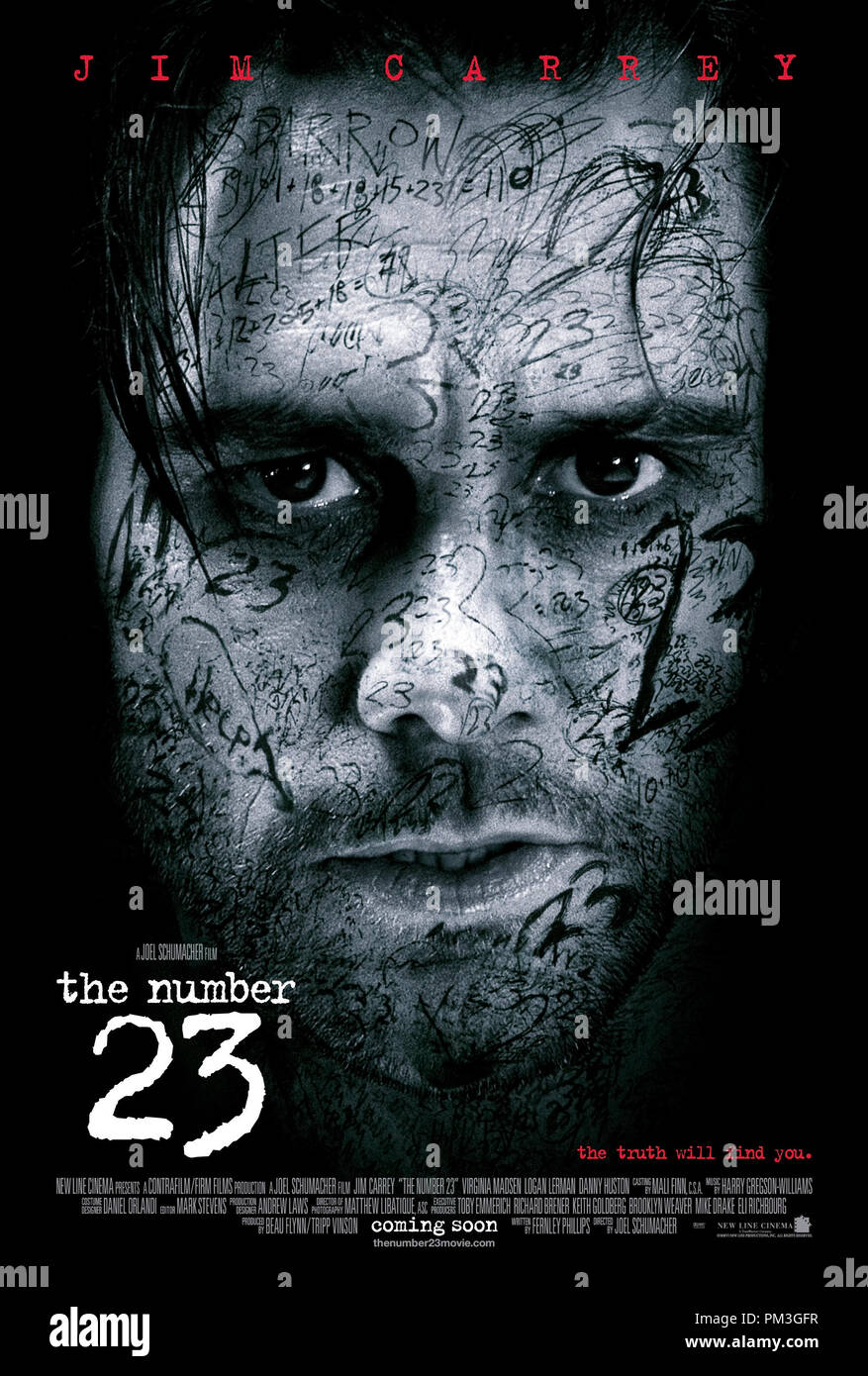 Poster Art from 'The Number 23' Poster © 2007 New Line Cinema  File Reference # 307351114THA  For Editorial Use Only -  All Rights Reserved - Stock Image