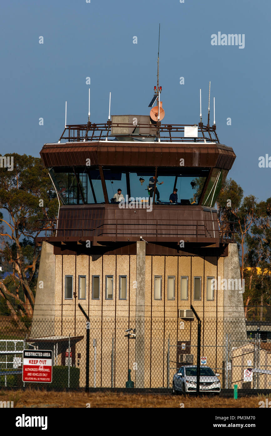 FAA air traffic control tower, Palo Alto Airport (KPAO), Palo Alto, California, United States of America - Stock Image