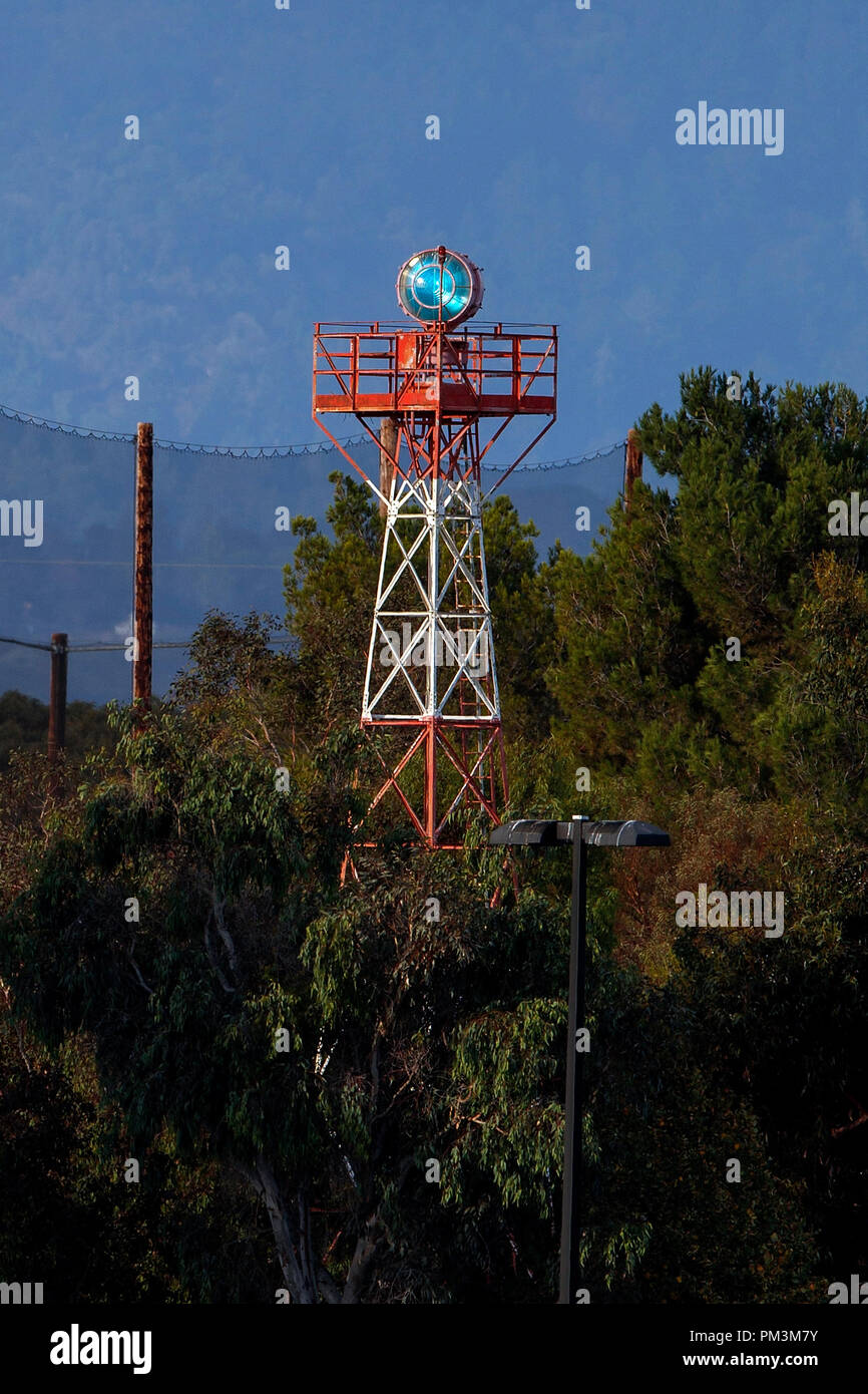 Rotating beacon, Palo Alto Airport (KPAO), Palo Alto, California, United States of America - Stock Image