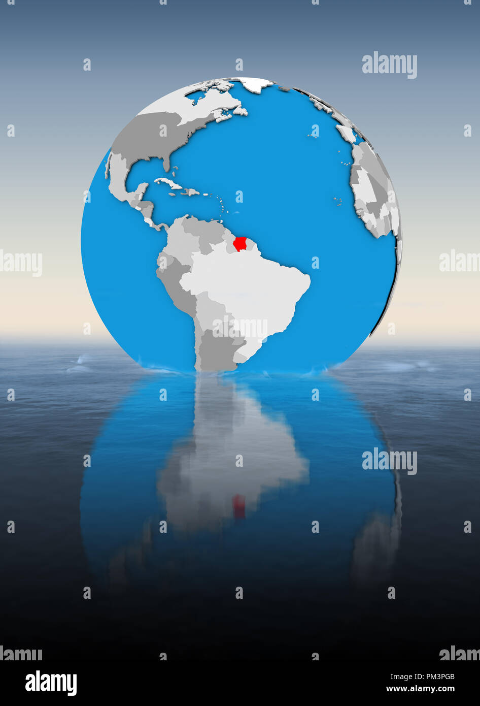 Suriname on globe floating in water. 3D illustration. Stock Photo