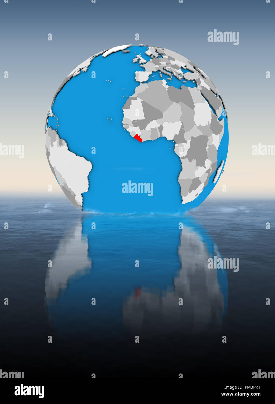 Liberia on globe floating in water. 3D illustration. - Stock Image