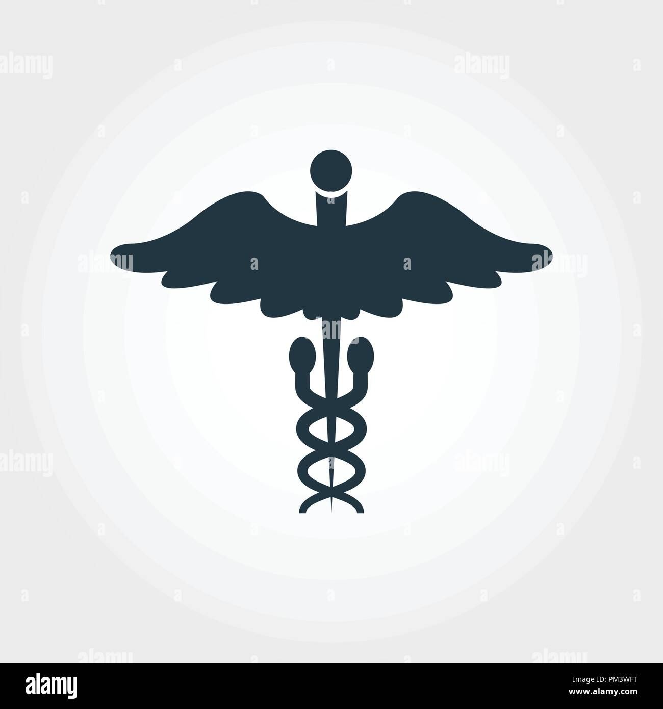 Caduceus Glyph icon. Line style icon design Caduceus Glyph icon design from medicine collection. Pictogram isolated on white. Perfect for web design, apps, software, print. - Stock Image
